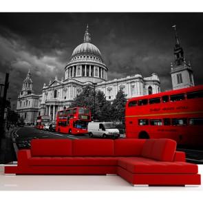 Rode Bussen In Londen Behang 3D - Gelijmde