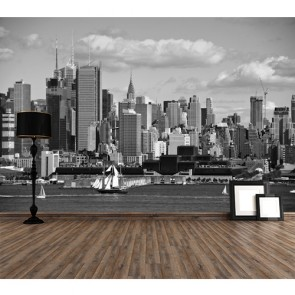 Stad In Zwart En Wit 3D Behang - Gelijmde