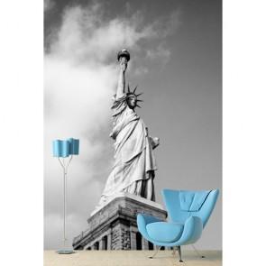Vrijheidsbeeld In Zwart En Wit 3D Fotobehang - Gelijmde