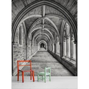 Kasteelweg In Zwart-Wit Fotobehang 3D - Gelijmde