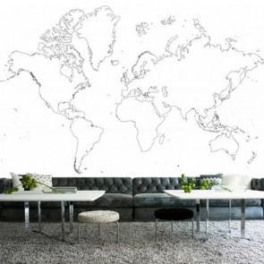 Wereldkaart Tekening Houtskool Behang 3D