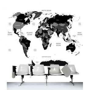 De Wereld In Zwart En Wit Fotobehang 3D - Gelijmde