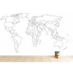 Verwijderbare Wereldkaart Behang 3D - Gelijmde