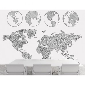 De Wereld Draait Behang 3D - Gelijmde