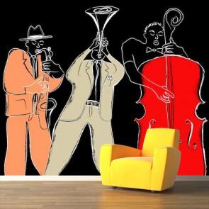 Blues Trio Fotobehang 3D - Gelijmde