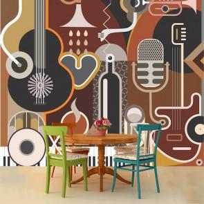Muziek En Kunst Behang - Gelijmde