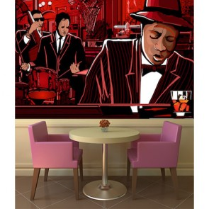 Jazz Bar 3D Fotobehang - Gelijmde