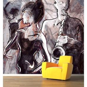 Dans En Muziek Behang 3D - Gelijmde