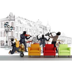 Straat Muziek Fotobehang 3D - Gelijmde