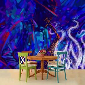 Kunst In Jazzstijl 3D Behang - Gelijmde