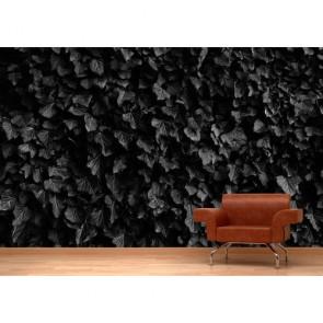 Zwarte Bladeren 3D Behang - Gelijmde