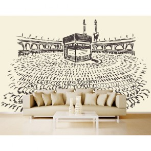 Houtskool Kaaba Fotobehang 3D - Gelijmde