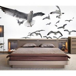 Witte Vogels 3D Behang - Gelijmde