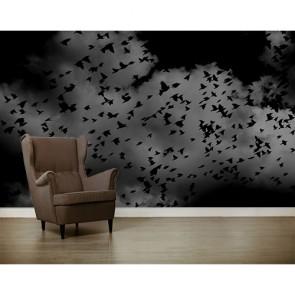 Zwarte Vogels Behang - Gelijmde