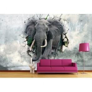 Sterke Olifanten 3D Behang - Gelijmde