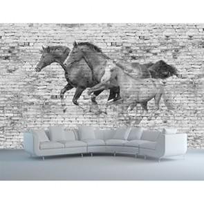 Muur Met Paarden 3D Fotobehang - Gelijmde