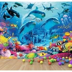 Underwater Creatures Behang 3D - Gelijmde