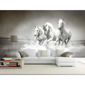 Paarden In De Oceaan 3D Behang - Gelijmde