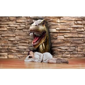 Inval Van Dinosauriers Fotobehang Gelijmde
